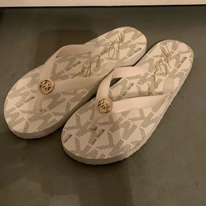 White and Gold Michael Kors Flip flops